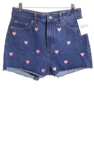 Monki Shorts dunkelblau-rosa grafisches Muster Romantik-Look