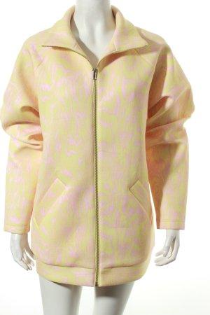 Monki Softshelljacke rosa-gelb abstraktes Muster Casual-Look