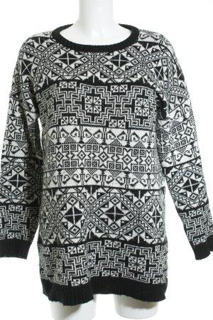 Monki Strickpullover schwarz-weiß abstraktes Muster Kuschel-Optik