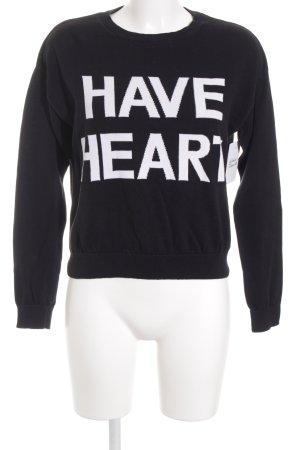 Monki Sweatshirt schwarz-weiß Schriftzug gestickt Casual-Look
