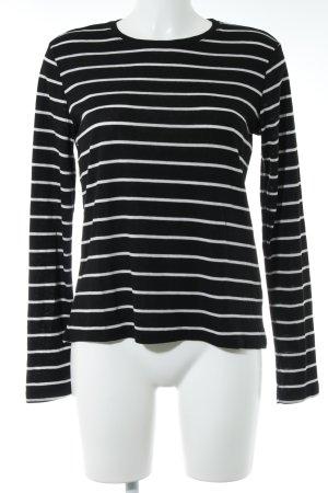 Monki Sweatshirt schwarz-weiß Streifenmuster Casual-Look