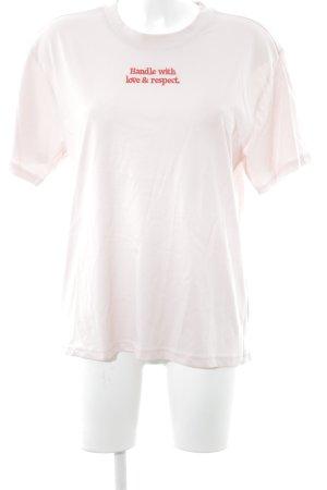 Monki T-shirt rosa antico-rosso mattone caratteri ricamati stile casual