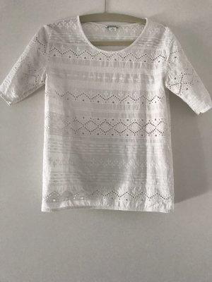 Monki - T-shirt Bluse - weiß, bestickt - Gr. XS