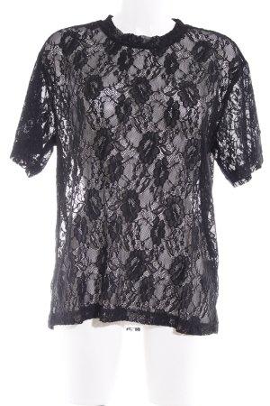 Monki T-Shirt schwarz Spitzen-Optik