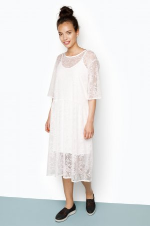MONKI Terry Lace Dress weiß Größe S