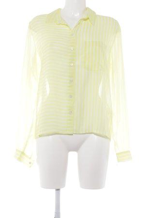Monki Transparenz-Bluse neongelb-wollweiß Streifenmuster Casual-Look