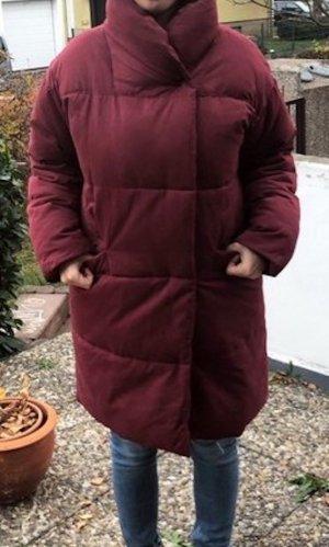 Monki Winter Daunen Jacke Mantel oversized S 36 38 weinrot Blogger