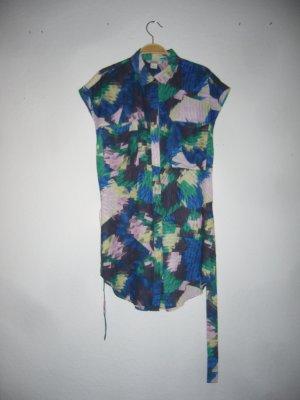 Monki XS 34 S 36 oversized Blogger Bluse lang Seitenschlitze geschlitzt Schlitze gemustert Muster grün flaschengrün smaragd blau beere Trend 90s 90er neu ungetragen