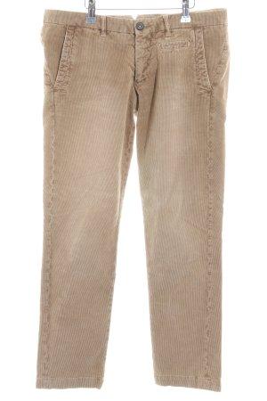 Monocrom Pantalon en velours côtelé chameau-marron clair style décontracté