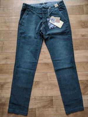 Monocrom Pantalone di velluto a coste petrolio Cotone
