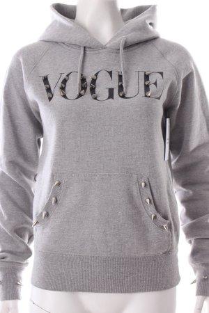 Monsieur Stive Kapuzensweatshirt grau Schriftzug gedruckt Urban-Look