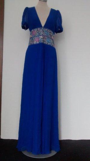 Monsoon Abendkleid Seide Kleid Gr. UK 10 EUR 38 blau ethno Maxikleid neu!