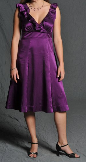 Monsoon Kleid Gr. 38 violett lila Hochzeit Taufe Seide 1x getragen