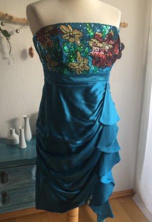 Monsoon Limited  Pailletten Kleid blau neu Größe 42