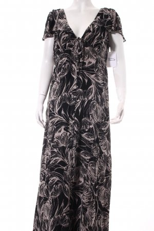 Monsoon Maxikleid schwarz-beige florales Muster Hippie-Look