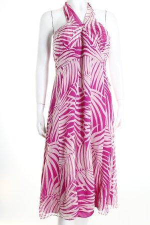 Monsoon Neckholderkleid weiß-violett abstraktes Muster Romantik-Look