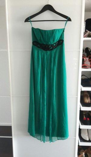 Monsoon Petite langes Bandeau Ball Cocktail Abend Kleid Seide Emerald Grün 34 36