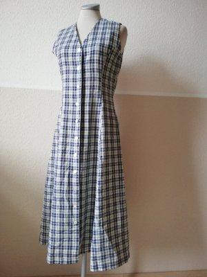 Monsoon Retro Kleid kariert blau weiß Gr. UK 10 36 S Rockabilly tailliert