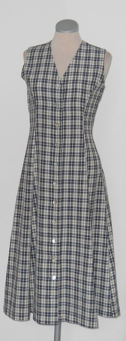Monsoon Retro Kleid kariert blau weiß Gr. UK 10 36 S Rockabilly tailliert