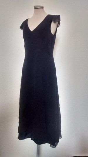Monsoon retro Kleid polkadots blau weiß Seide Midikleid Gr. 40 neu