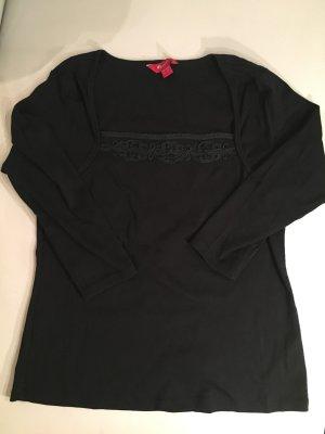 MONSOON schwarzes Shirt mit Seidenstickerei, 3/4 Ärmel, Gr. 42, wie NEU