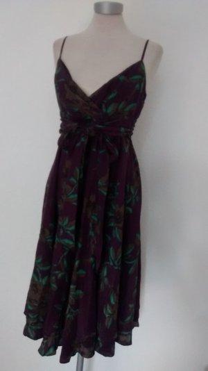 Monsoon Seidenkleid Kleid Seide lila grün Gr. UK 12 EUR 40 Schleife