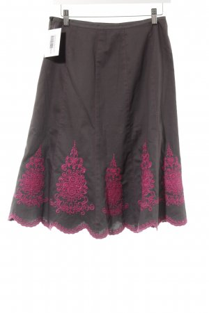 Monsoon Tellerrock graubraun-magenta abstraktes Muster Casual-Look
