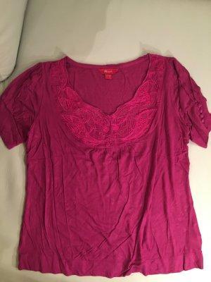MONSOON wunderschönes Shirt mit Seidenstickerei in zyklame, Gr. 42, wie NEU