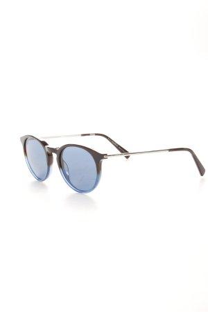 Montblanc runde Sonnenbrille schwarz-blau Farbverlauf Logoprägung