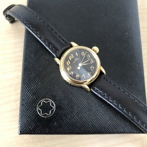 Montblanc Watch With Leather Strap black-gold-colored