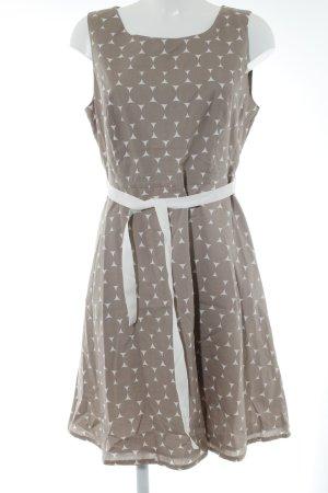 Montego A-Linien Kleid hellbraun-hellbeige Punktemuster 50ies-Stil