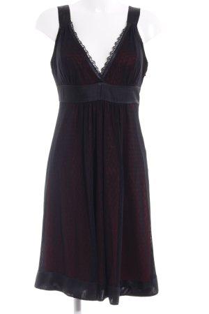 Montego A-Linien Kleid schwarz-dunkelrot Spitzen-Optik