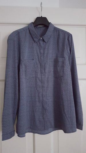 Montego Bluse 46 Hemd Print gemustert seidig Perlmuttknöpfe