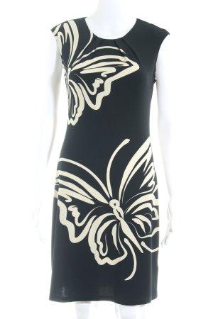 Montego Kurzarmkleid schwarz-creme abstraktes Muster Elegant