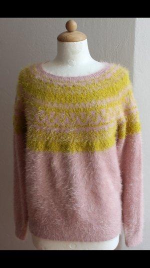Pull norvégien jaune fluo-rose clair