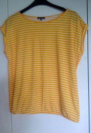 Montego Maglietta a righe giallo-oro-bianco Tessuto misto