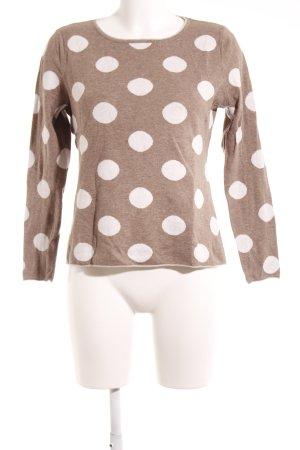 Montego Rundhalspullover beige-weiß Punktemuster Casual-Look
