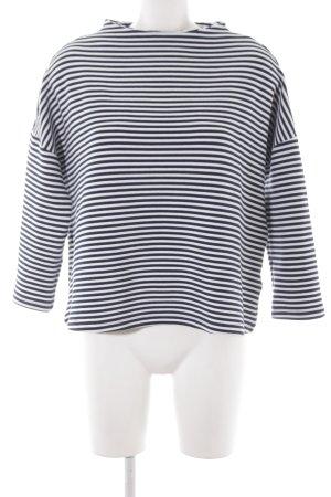 Montego Rundhalspullover weiß-dunkelblau Streifenmuster Casual-Look