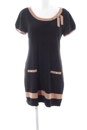 Montego Strickkleid schwarz-nude Streifenmuster Casual-Look