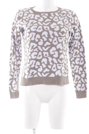 Montego Strickpullover beige-weiß Leomuster Casual-Look