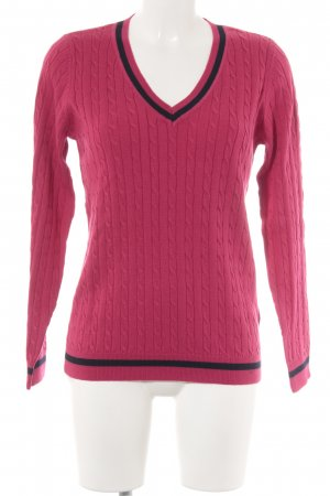 Montego Strickpullover pink-dunkelblau Webmuster Casual-Look