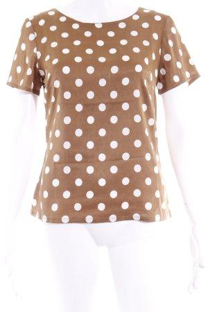 Montego T-Shirt hellbraun-weiß Punktemuster Romantik-Look