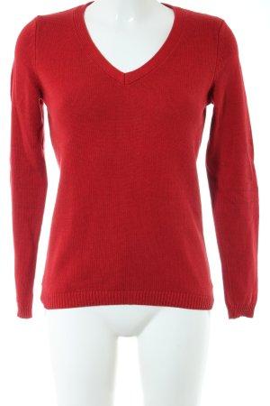 Montego V-Ausschnitt-Pullover rot Business-Look
