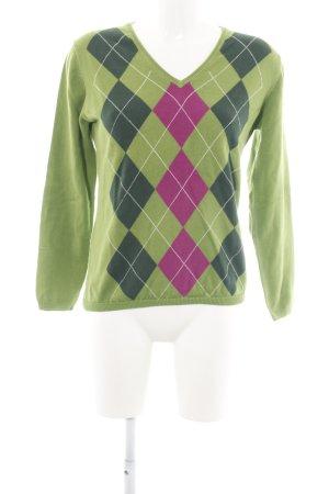 Montego V-Ausschnitt-Pullover grün-pink grafisches Muster Casual-Look