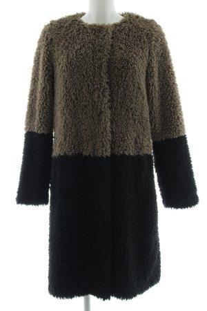 Montgomery Abrigo de piel sintética marrón-negro look casual