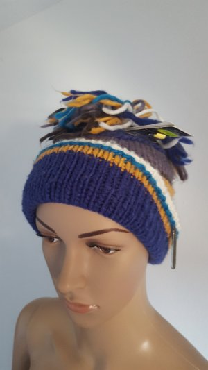 Chapeau en tricot multicolore acétate