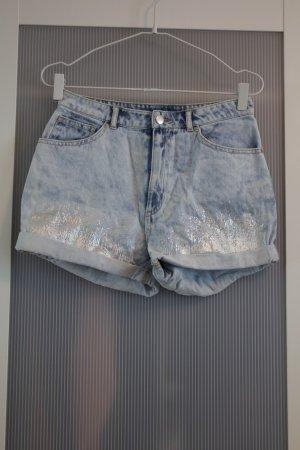 H&M Short taille haute bleu clair-argenté coton