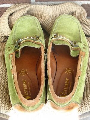 Moosgrüne Slipper aus Leder, Größe 40
