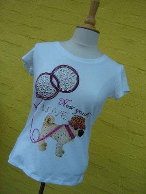 MOPS T-Shirt mit viel Strass und Nieten
