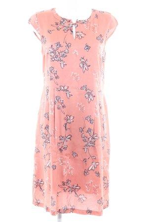More & More A-Linien Kleid lachs florales Muster Glanz-Optik